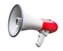 Red and white bullhorn public address megaphone isolated on white background