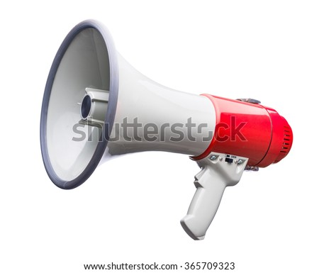 Red and white bullhorn public address megaphone isolated on white background - Shutterstock ID 365709323