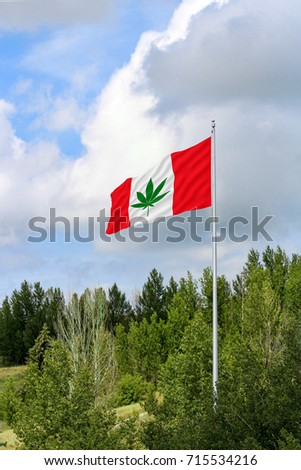 Red and white Canadian flag with a green pot leaf waving in the wind on a flagpole #715534216