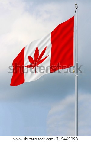 Red and white Canadian flag with a pot leaf waving in the wind on a flagpole #715469098