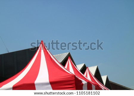 Red and white Canvas Event Tents, marquee tent,protection roof form sun and rain at the park #1105181102