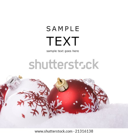 red and white christmas ornament background (selective focus)