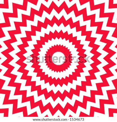 Red and white circular opp art design.