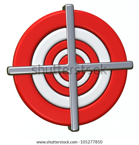 Red and white darts target aim 3d