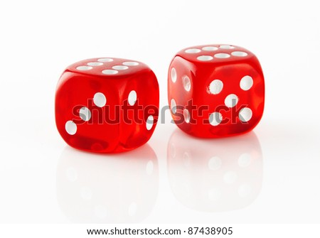 Red and white dices on a white background #87438905