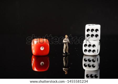 Red and White dices, Risk vs Reward conceptual shot.  #1455581234