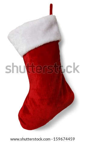 Red and White Empty  Stocking Isolated on White Background. - Shutterstock ID 159674459