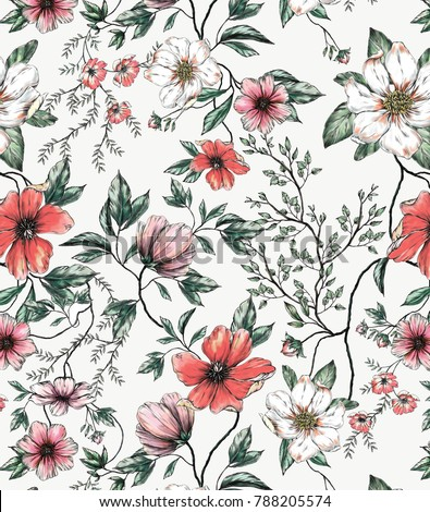 Red and White Flower Allover on off-white background, Hand drawn, Asia Style, for Spring Summer, good for Digital Print and Sublimation Techniques