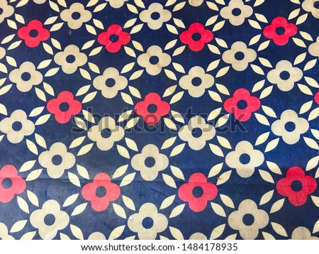red and white flower pattern on royal blue background #1484178935