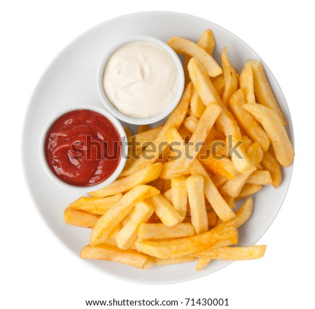 Red and white french fries chips