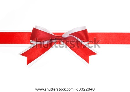 Red and white gift bow on white background