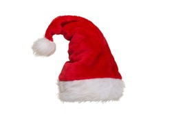 Red and white hat of santa claus isolated on a white background