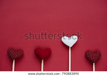 Red and White Hearts on line as background for Valentine day  #790883890