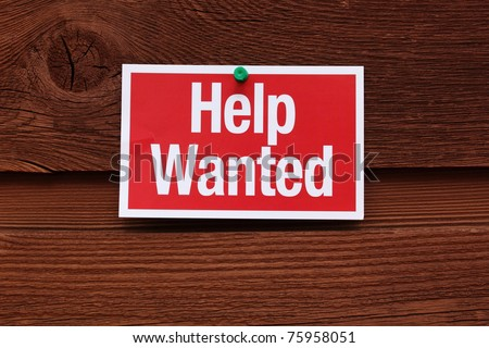 Red and White Help Wanted Sign