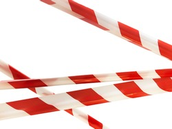 Red and white lines of barrier tape prohibit passage. Barrier tape on white isolate. Barrier that prohibits traffic. Danger unsafe area warning tape do not enter. Concept no entry. Copy space