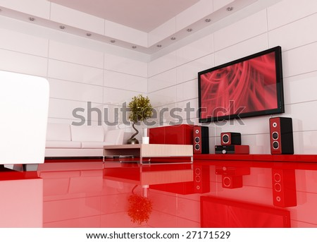 red and white living room with home theater , the image on tv screen is a my image - rendering