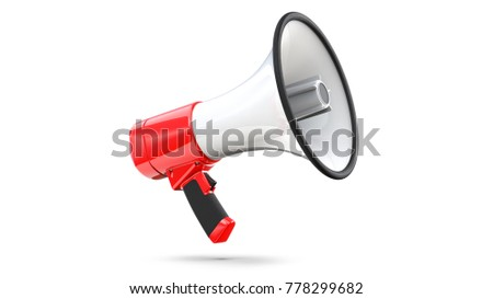 Red and white megaphone isolated on white background. 3d rendering of bullhorn, file contains a clipping path to isolation.