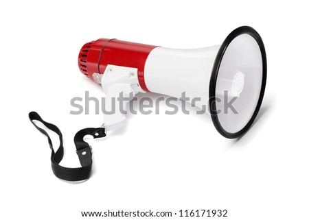 Red and white megaphone isolated on white with natural shadows.