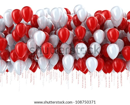 Red and white party balloons
