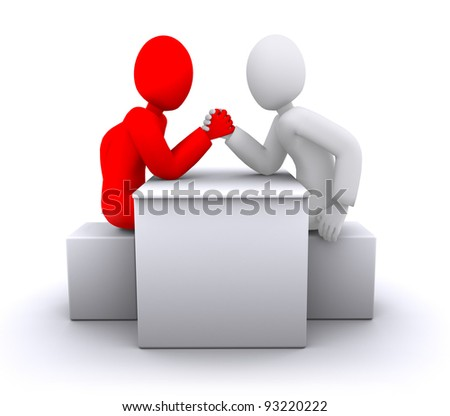 Red and white people arm wrestling, business competition