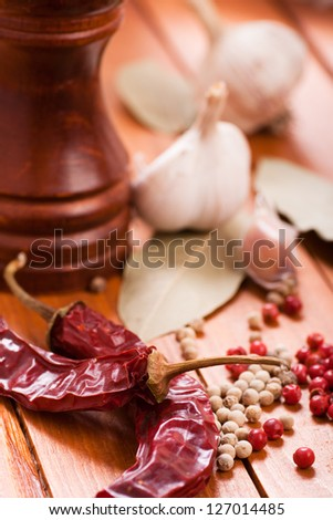 Red and white pepper still-life