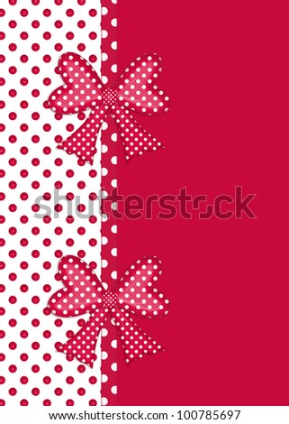 White Polka  Dress on Red And White Polka Dot Border With Gift Bows And Ribbon Isolated On