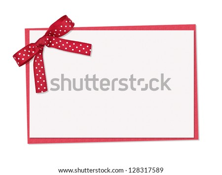 Red and white polka dot card, ribbon and bow, isolated over white background