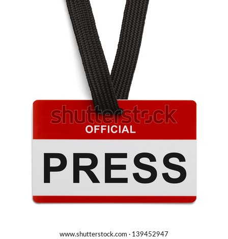Red and White Press Badge Isolated On white Background.