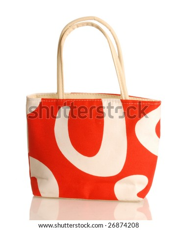 red and white purse or beach bag isolated on white background