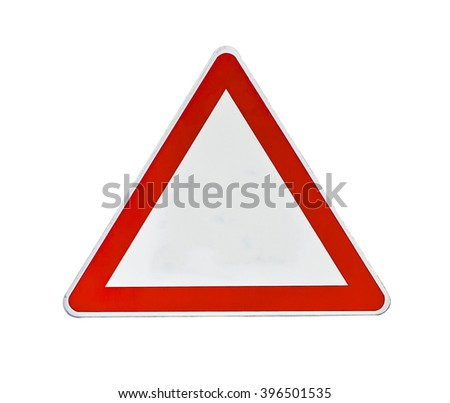 Red and white road traffic coordination symbol on white #396501535