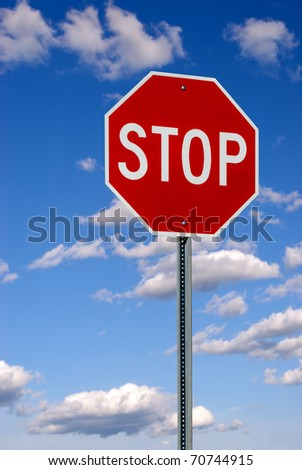 Red and White Stop Sign - stock photo