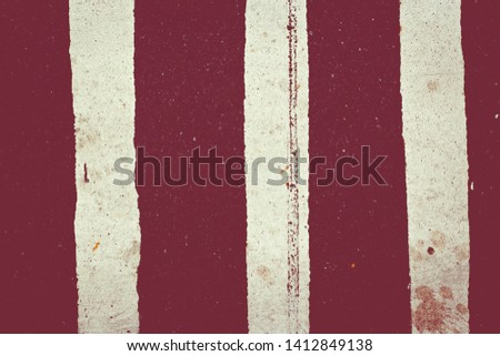 Red and white striped canvas texture and background. Abstract grunge background with vertical stripes.  #1412849138