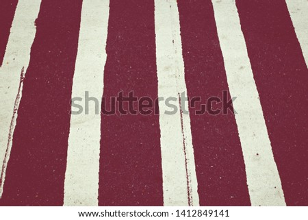 Red and white striped canvas texture and background. Abstract grunge background with vertical stripes.  #1412849141