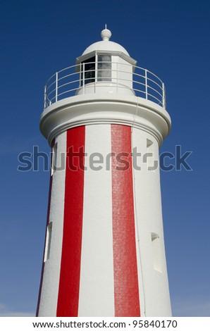 Red and white striped lighthouse at Mersey Bluff, Devonport, Tasmania, Australia