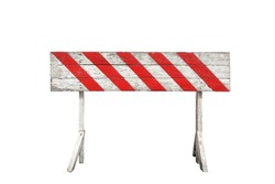 red and white striped on wooden panel barrier isolated on white background. the ban sign painted on wood plank and stand