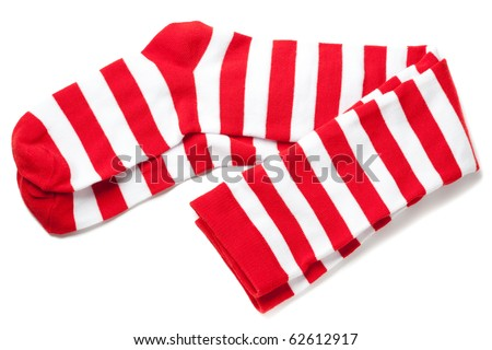 red and white striped thigh highs.