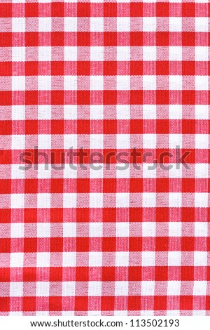 Red and white tablecloth.  Provence style.