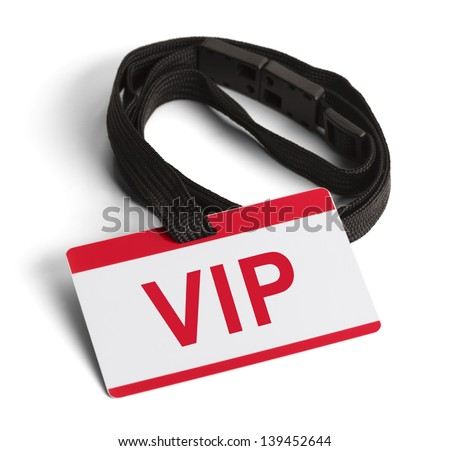 Red and White VIP ID Card Isolated on White Background.