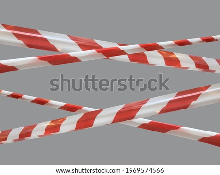 Red and white warning lines of barrier tape prohibit passage. Barrier tape on gray isolate. Barrier that prohibits traffic. Danger unsafe area warning do not enter. Concept of no entry. Copy space Photo stock ©