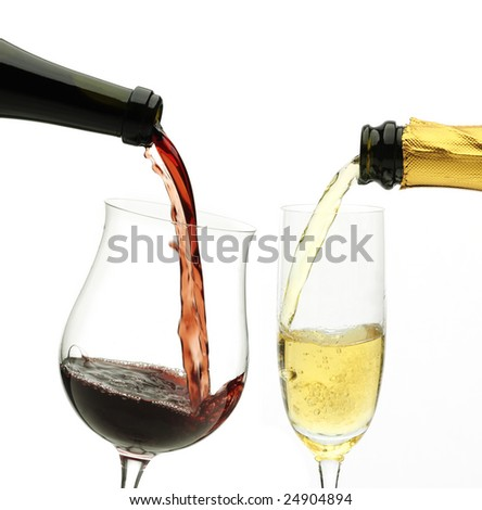 red and white wine being poured
