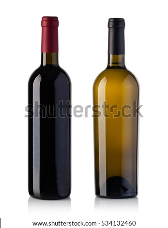 red and white wine bottle isolated over white background #534132460