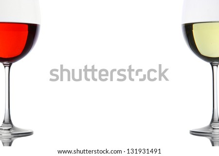 Red and white wine glasses isolated on white