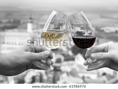 Red and white wine in front of czech city