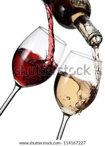 Red and white wine pour
