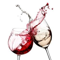 Red and white wine splash diagonal