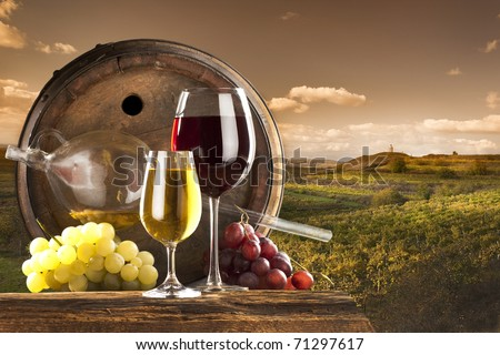red and white wine with barrel on vineyard