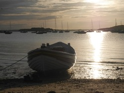 Red and white wooden fishing boat moored on a beach, Shell Bay, Poole Harbour