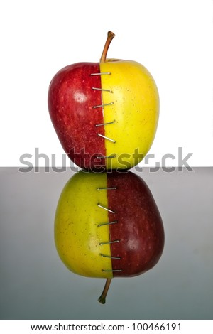Red and yellow apple halves mend together with reversed reflection
