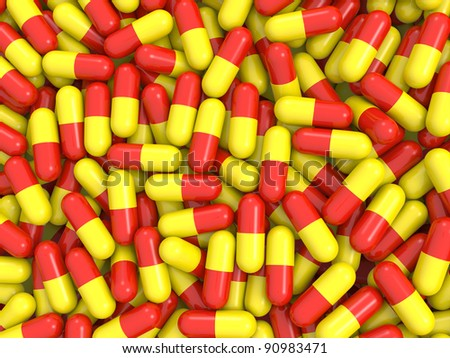 Red and yellow capsule shaped pills background