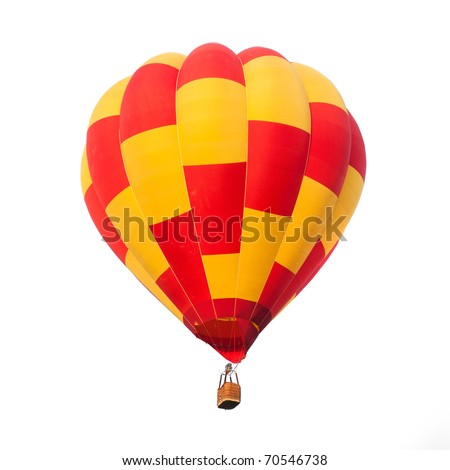 Red and yellow hot air balloon isolated on white.